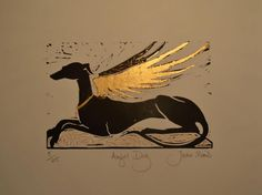 Seated Angel Hound with gold leaf wing and embellished cushion, by Jacky Morris. edition of 25, but each one different.
