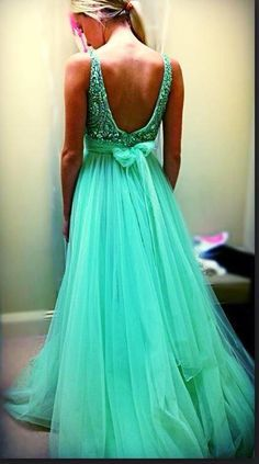Custom Cheap A line Beaded Bling Bling Sexy Open Back Tulle Long Sage Green Prom Dresses Formal Evening Dresses Gowns, Homecoming Graduation Cocktail Party Dresses, Holiday Dresses, Plus size Grad Dresses, Dance Dresses, Homecoming Dresses, Bridesmaid Dresses, Dress Prom, Dresses 2016, Prom Gowns, Bridesmaids, Elegant Dresses