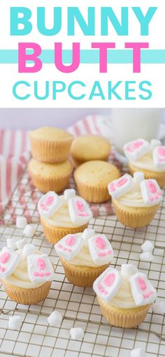 These adorable Bunny Butt Cupcakes make quite a statement as an Easter Dessert, and the best part is that they are so easy to m Easter Deserts, Easy Easter Desserts, Easter Appetizers, Kid Desserts, Best Dessert Recipes, Easter Recipes, Cupcake Recipes, Sweet Recipes, Cupcake Cakes