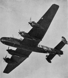 Halifax B.II Series I (Special) W1057, ZA-X, No. 10 Squadron RAF, with a faired-over nose. During April–May 1942, this aircraft took part in a number of raids on the German battleship Tirpitz in Fættenfjord near Trondheim, Norway.
