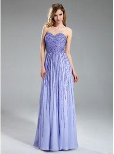 A-Line/Princess Sweetheart Floor-Length Chiffon Prom Dress With Sequins (018018995) - JJsHouse