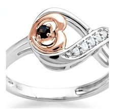 NWT JARED Infinity Red & White Diamond Heart Ring,  SS & GP Rose Gold, Size 7 #Jared #Band