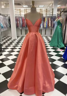 Simple v neck satin long prom dress evening
