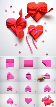 Step by step origami heart folding Best Picture For DIY Origami paper Origami Design, Diy Origami, Origami Simple, Origami Love Heart, Origami Swan, Origami Star Box, Origami Dragon, Origami Paper Folding, Origami Fish
