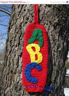 Christmas in July Sale Crocheted Plastic Bag Holder Red ABCs