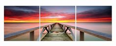 Red and Purple Sunrise in Cancun - kinda Pink Floyd-y, right? Perfect for your bachelor pad. $220 Available in 3 sizes. Elementem Photography, triptych, sunrise, pier, Cancun