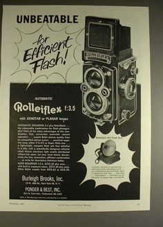 Rollei Rolleiflex f:3.5 Camera Ad, Efficient Flash (1957)