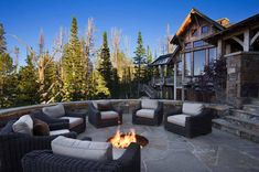 Summit Residence is a sensational rustic mountain retreat designed by Locati Architects, located in the prestigious ski resort community of Yellowstone Club, Big Sky, Montana. Rustic Patio, Rustic Outdoor, Outdoor Fire, Outdoor Living, Outdoor Spaces, Porches, In Ground Fire Pit, Montana, Yellowstone Club