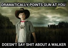 but couldn't shoot a walker who was stuck in the mud... Oh Carl... #TheWalkingDead