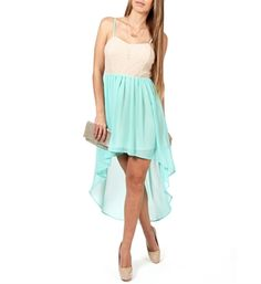 Mint Hi-low Crochet Dress