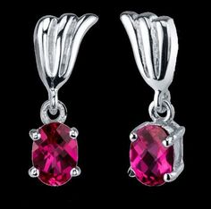 Red Ruby Oval Cut Plume Accent Sterling Silver Earrings