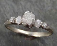 Raw Diamond White gold Engagement Ring Rough Gold Wedding Ring diamond Wedding Ring Rough Diamond Ring byAngeline 0280