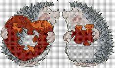 × Вышивание ~♥~ крестиком × Hedgehog Cross Stitch, Cross Stitch Heart, Cute Cross Stitch, Cross Stitch Cards, Cross Stitch Animals, Cross Stitching, Cross Stitch Embroidery, Embroidery Patterns, Loom Patterns