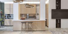 living room and kitchen on Behance Bathroom Lighting, Living Room, Interior Design, Mirror, Behance, Kitchen, Table, Furniture, Home Decor