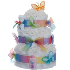 Pastel Baby Butterfly 3 Tier Rolled Diaper Cake How cute is this Butterfly Diaper Cake? Baby Cakes, Baby Shower Cakes, Baby Shower Diapers, Baby Shower Gifts, Butterfly Diaper Cake, Butterfly Baby Shower, Unique Diaper Cakes, Diy Diaper Cake, Diaper Crafts