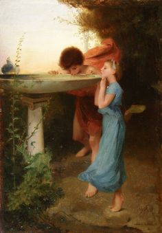 Emile Lévy (French 1826-1890) The Fountain of Youth Oil on Panel - Found on Ruby Lane For Sale at LeFays Fine Art
