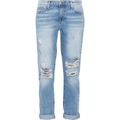 Current/Elliott The Fling distressed mid-rise boyfriend jeans ($120) ❤ liked on Polyvore featuring jeans, pants, bottoms, light denim, low rise jeans, destructed boyfriend jeans, blue boyfriend jeans, blue jeans and distressed jeans