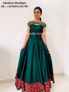 Dress Pattern Bridesmaid 25 New Ideas Kalamkari Dresses, Ikkat Dresses, Long Gown Dress, Lehnga Dress, Saree Gown, Frock Dress, Long Dress Design, Dress Neck Designs, Indian Designer Outfits