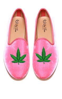 Prince Albert Bubblegum Pink Velvet Slipper Loafers With Cannabis Leaf by Del Toro for Preorder on Moda Operandi