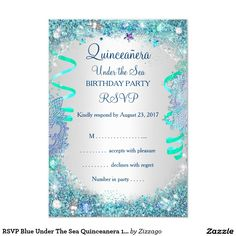 RSVP Blue Under The Sea Quinceanera 15th Birthday 35x5 Paper Invitation Card Ideas