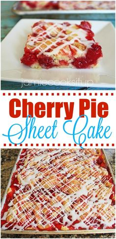 Cherry Pie Sheet Cake at Jamie Cooks It Up! More - Recipes - Blechkuchen 13 Desserts, Cherry Desserts, Dessert Recipes, Cherry Pie Filling Desserts, Cherry Pie Bars, Frosting Recipes, Health Desserts, Food Cakes, Cupcake Cakes