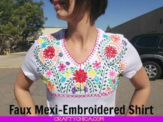 I've always wanted to tackle making a Mexi-style embroidered blouse, but who has the time? So, um, I cheated! I used Puffy Paint on a T-shirt! And you know what?