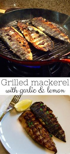 mackerel with lemon and garlic We love the crispy, smoky skin & juicy, flavourful flesh of this delicious grilled mackerel! Packed with Omega it's a healthy family favourite dinner.We love the crispy, smoky skin & juicy, flavourful flesh of this delicio Kosher Recipes, Fish Recipes, Seafood Recipes, Cooking Recipes, Healthy Recipes, Seafood Bbq, Tilapia Recipes, Garlic Recipes, Recipes Dinner