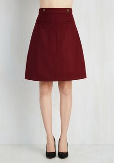 Task in Your Glory Skirt. Take on to-dos like a champ, and look charming in this burgundy skirt while youre at it! #red #modcloth