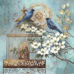 Wildon Home 'Blue Birds and Dogwood' by Elaine Vollherbst-Lane Painting Print Vintage Cards, Vintage Paper, Vintage Postcards, Floral Vintage, Vintage Prints, Vintage Pictures, Vintage Images, Motifs Animal, Bluebirds