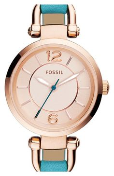 Fossil 'Georgia' Round Leather Strap Watch, 26mm available at #Nordstrom