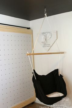 GENIUS!!! This DIY hammock chair is such a fun, easy, and inexpensive addition to any room in need of a little extra relaxation!  Petite Modern Life for Designer Trapped in a Lawyer's Body.