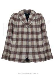 50s Shawl Collar Swing Jacket - Check