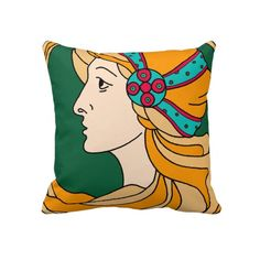 Beautiful Art Nouveau style lady detail Pillows