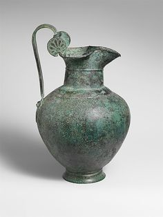 Bronze oinochoe (jug)   Period: Archaic Date: mid-6th century B.C. Culture: Greek Medium: Bronze