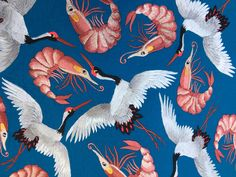 Embroidered Prawns & cranes by Ellie Mac Embroidery Ellie And Mac, Fabric Manipulation, Bead Crochet, Beaded Embroidery, Needlework, Rooster, Patches, Textiles, Stitch