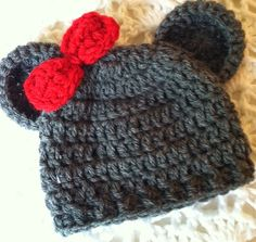 Lakeview Cottage Kids: NOW AVAILABLE!!! Mr. and Missy Mouse Crochet Baby Hat! Sizes 0 - 3 months and 3 - 6 months!!!