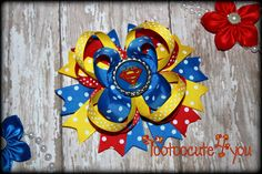 Boutique Super Girl  Hair Bow, bright and colorful, Super Girl Bow, Boutique Hair Bow by PinkHairBowBoutique on Etsy https://www.etsy.com/listing/201433160/boutique-super-girl-hair-bow-bright-and