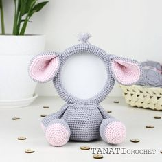 This is a crochet pattern (PDF file) NOT a finished Photo Frame you see on the photos! Crochet Animals, Crochet Toys, Crochet Baby, Elephant Size, Crochet Elephant, Crochet Dolls Free Patterns, Amigurumi Patterns, New Photo Frame, Kawaii Crochet