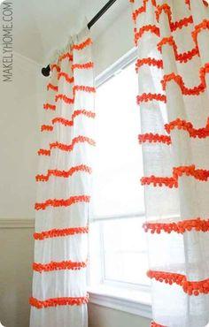 DIY Pom-Pom Trim Curtains | 15 DIY Pom-Pom Projects For Jazzing Up Everyday Items