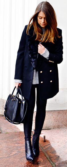 A double breasted blazer is a must have this season. Try wearing yours oversized like Marianna Mäkelä with leather leggings and matching boots.   Coat/Shoes: Mango, Sweater: Acne, Bag: Prada. Cute Fall Outfits.