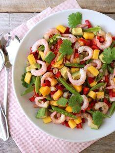 lindastuhaug - lidenskap for sunn mat og trening Skalldyrsalat med mango &amp. Caesar Pasta Salads, Avocado, Recipe Boards, Everyday Food, Food Inspiration, Tapas, Food Porn, Food And Drink, Low Carb