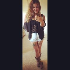 Rodeo outfit bull bash cowboy boots lace top vest