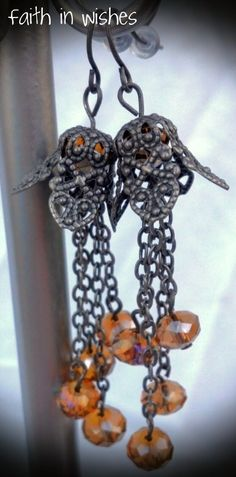 Sunshine Crystal and Antique Silver Chandelier Earrings - Exclusive Design. $15.00, via Etsy.