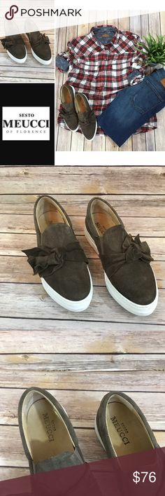 Sesto Meucci Suede Slip on Sneakers twist detail Sesto Meucci Suede Slip on Sneakers twist detail. Italian luxury shoe sold at Neiman Marcus. Brown suede sneaker, on trend! Gorgeous! Sesto Meucci Shoes Flats & Loafers