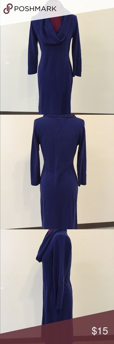 Royal blue cow neck sweater dress Super soft!  Can be worn dressed up w a belt or loose and casual!  Or off shoulder!  Warm and cozy!!! Connected Apparel Dresses Midi