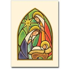 "Nativity with star in arch - Christmas Cards (Package of Card Inside Text: Welcome Christ's coming with songs of joy. Christmas Blessings Bible Verse: Isaiah ""Shout aloud and sing for joy…for great in your midst is the Holy One of Israel. Christmas Rock, Christmas Nativity, Vintage Christmas, Christmas Crafts, Simple Christmas, Stained Glass Christmas, Faux Stained Glass, Stained Glass Designs, Christmas Drawing"