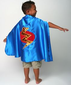 Another great find on #zulily! Blue & Red Lightning Bolt Satin Cape by Story Book Wishes #zulilyfinds