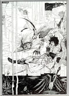 'How King Arthur saw the Questing Beast and thereof had great marvel' from Le Mort d'Arthur / Aubrey Beardsley