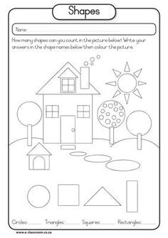 Printables Free Shapes Worksheets free printable house shapes worksheet i would use this at the maths shapes