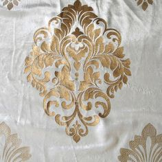 Royal Ivory Damask - Ivory Velvet Fabric With Gold Floral Damask Print Embroidery Flowers Pattern, Machine Embroidery Patterns, Embroidery Suits Design, Hand Embroidery Designs, Baroque Design, Decorative Towels, Fabric Painting, Damask, Natural Pillows